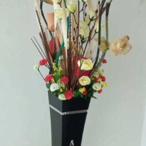 Flower and Wooden Vase