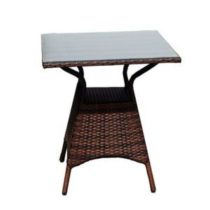 Outdoor Furniture Brown Rattan And Glass Centre Table (HM115)