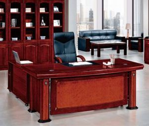 Brown Executive Table With Leather Writing Pad