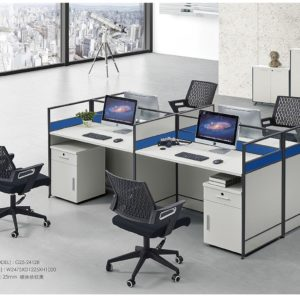 White And Blue 4 man Workstation (BG453)